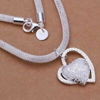 2019 Hot 925 STERLING SILVER DOUBLE HEART PENDANT NECKLACE CHAIN WOMEN JEWELLERY