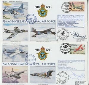 FALKLAND ISLANDS 1993 75th ANNIVE of the ROYAL AIR FORCE official SIGNED covers