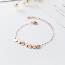 NEW Womens Fashion 18K Rose Gold Plated RGP Round Discs Sequins Bracelets Polish