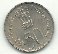 VERY NICE HIGH GRADE AU/UNC 1973 B INDIA 50 PAISE COIN-FEB515