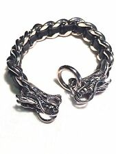 Mens Silver Stainless Steel Gothic Black Leather Dragon Bracelet