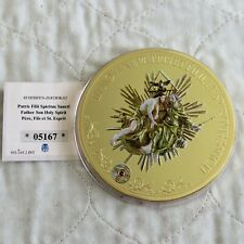 More details for 2015 father son holy spirit 100mm gold plated proof medal with swarovski - coa