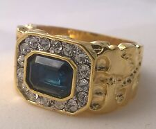 G-Filled Men's 18k yellow gold simulated diamond blue sapphire ring nugget Gents
