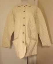 JONES NEW YORK SPORT CREAM QUILTED 100% Cotton JACKET BARN COAT Size L