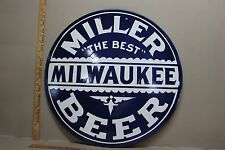 "24"" MILLER BEER  PORCELAIN SIGN MILWAUKEE BREW CITY THE BEST BAR ALE PABST"