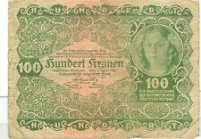 OLD AUSTRIA GOUVERNMENT 100 KRONEN 1922