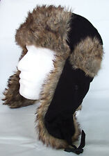 Trapper Hat Mens By JL Accessories Black Canvas Cotton & Brown Faux Fur New