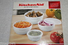 KITCHENAID SET OF 4 WHITE BOWLS WITH LIDS NEW