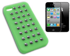 COVER CASE FLIP COMPATIBILE IPHONE 4 GOMMA VERDE BORCHIE BORCHIA