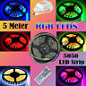 5M RGB LED Strip light 5050 Waterproof 44 Key Remote 12V Power Full Kit US/EU