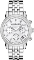 Michael Kors MK5020 Ritz Silver Tone Chronograph Mother of Pearl Ladies Watch