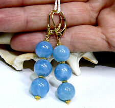Vermeil On Sterling Silver Earrings Natural Sea Blue Aquamarine 24kt Gold