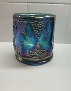 Vintage Indiana Carnival Glass Canister Jar Grapes Green Purple