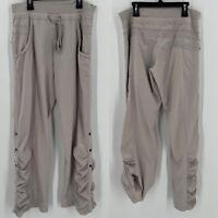 Soma Drawstring Jogger Pants Ruched Snap Leg Roll Up Hiking Lounge Beige Sz M