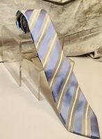 "DONALD J TRUMP Signature Collection Blue/White/ Grey Striped, Silk 59"" x 3-1/2"""