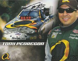 2006 Tony Pedregon signed Quaker State Chevy Monte Carlo Funny Car NHRA postcard