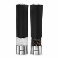 Tower T80400 Electric Salt and Pepper Mill / Grinder in Black - Brand New