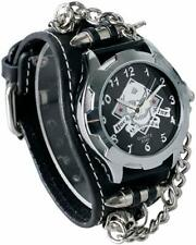 Abaobao Biker Skull Leather Bracelet Watch – Rock, Gothic, Emo Style