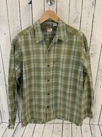 Levi's Red Tab Men's Green Plaid Long Sleeve Button Front Shirt Medium Cotton Z1