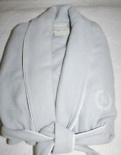 "POTTERY BARN HOTEL PIPED TRIM ROBE - SMALL - GRAY EMBROIDERED ""N"""