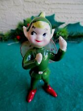 VINTAGE CERAMIC ELF/PIXIE BOY FAIRY POINTED EARS GREEN SUIT RED NYLON WINGS
