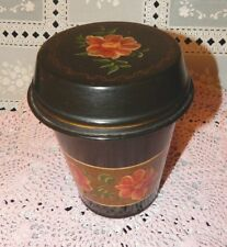VINTAGE TIN w/LID HAND PAINTED TOLEWARE TOLE WARE FLOWERS ON GOLD