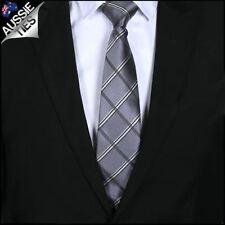 Silver Plaid Mens Tie Men's Diamonds Check Necktie