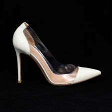 GIANVITO ROSSI WOMEN CLEAR PVC PLEXI SHOES HEELS PUMPS 37 7 WHITE LEATHER