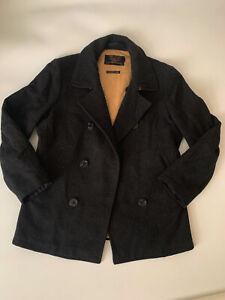 Vintage J Crew Black Bayswater Peacoat 100% Wool Mens M Thinsulate Breathable