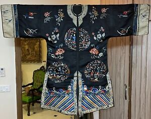 Antique Chinese Qing Dynasty Silk Robe With Sleeves Band Length 110 X Ches 63 Cm