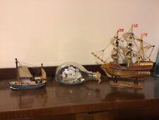 3 ship models ship in a bottle