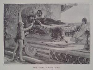 David King Of Israel Calming The Wrath Of Saul Print 1894