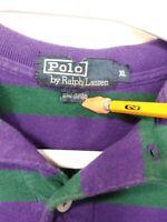 VTG 90s Ralph Lauren Purple Green Striped Polo Shirt Men XL USA Made Golf Rugby