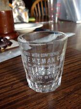 hynman co liquor store etched shot glass mpls minn mn 254 w broadway