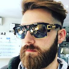 Flat Top Oversized Square Aviator Gold Metal Bar Black Designer Mens Sunglasses