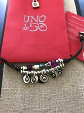 Uno De 50 Beaded Multi-colored charms Leather Bracelet - New collection - Rare!!