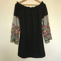 Boohoo 10 Small Black Short Dress Mesh Embroidered Bardot Floral Sheer Sleeve