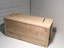 VINTAGE RAILWAY TRUNK LUGGAGE CHEST TRANSPORT BOX SOLID WOOD