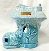 Bermuda Pottery Planter or Candle Holder Storybook Shoe Aqua Turquoise Drip 8""