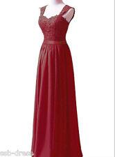 Appliqued Straps Long Chiffon Bridal Wedding Dresses Bridesmaid Size 6-18