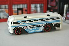 Hot Wheels Loose - School Bus - White & Blue - 1:64