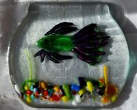 Art Glass Dichroic Fused Fish Bowl Trinket Jewelry Tray Plate Artist Signed LAW