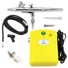OPHIR Yellow Air Compressor with 0.2mm Airbrush Kit for Makeup Hobby Airbrushing