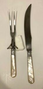VINTAGE LANDERS FRARY & CLARK AETNA WORKS CARVING KNIFE FORK SET