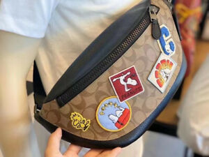 NWT Coach C4028 Limited Edition X Peanuts Warren Belt Bag With Varsity Patches