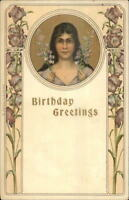 Art Nouveau Birthday Greeting - Beautiful Woman w/ Flowers c1905 Postcard