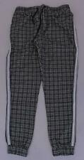 Boohoo Men's Check Smart Cuffed Jogger Pants With Tape SH3 Charcoal Large NWT