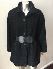 Shearling Curly Lamb Fur Vintage 80s Retro Tibetan Dress Black Jacket Coat Sz XL
