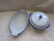 3 pc Vintage Husqvarna Enamelware Blue Birds 2 Casseroles & Lid Sweden Cast Iron