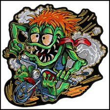 """XL 10"""" x 10"""" Monster on his Motorcycle Uniform Patch Biker"""